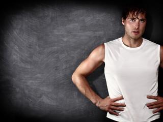 male fitness model copy space