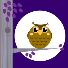 Wall Murals Birds, bees Cute Halloween Owl on Tree Branch with full moon behind.