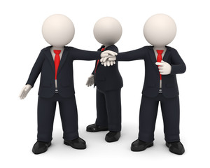 3d business people hands together united as team