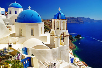 Fotobehang Santorini beautiful Santorini view of caldera with churches