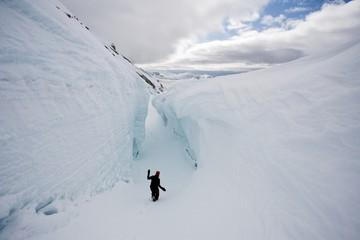 Inside the deep glacie crevasse