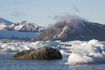 Typical Arctic landscape - sea, ice, mountains