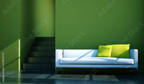 wohndesign wei es sofa vor gr ner wand stockfotos und lizenzfreie bilder auf. Black Bedroom Furniture Sets. Home Design Ideas