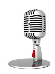 image of the old, chrome microphone on a white background