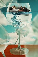 beautiful woman in glass