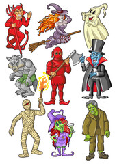 Halloween Characters on White Background