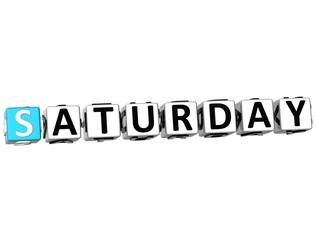 3D Saturday Block Text