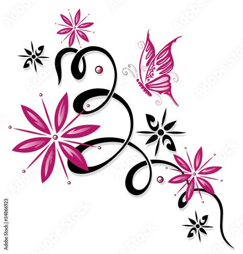 ranke flora blumen bl ten schmetterling pink. Black Bedroom Furniture Sets. Home Design Ideas