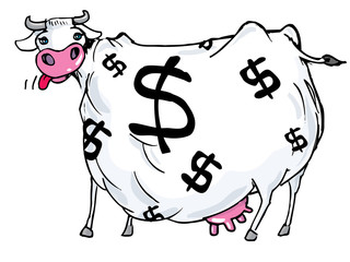 Cartoon of a cash cow with dollar signs on its body