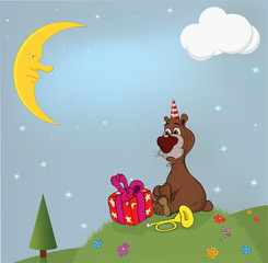 Birthday. A bear and gifts on a glade. Cartoon