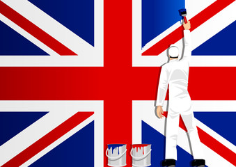 Illustration of a man figure painting the flag of United Kingdom