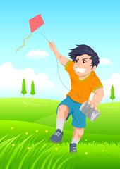 Cartoon illustration of a boy playing a kite