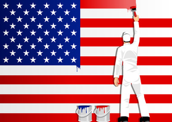 Illustration of a man figure painting the flag of USA