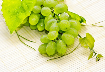 Bunch of white grapes with drops of dew