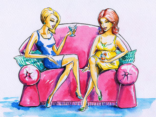 Two woman on a pink sofa.
