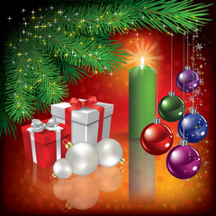 Christmas greeting with gifts and candle