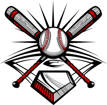 Baseball or Softball Crossed Bats with Ball Image Template