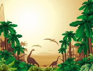 Papiers peints Zoo Dinosauri Sfondo Giurassico-Dinosaurs Jurassic Landscape