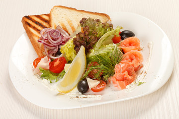 tasty appetizer with salmon