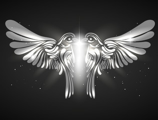 Decorative bird background | emblem. Vector illustration.