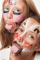 Young girls with painted face