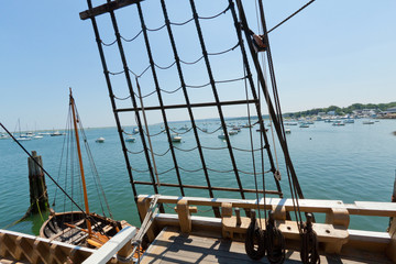 View of the rigging on the tall sail ship.