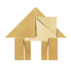 House origami recycled papercraft on white background
