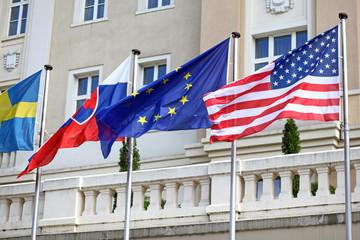 EU, Slovak, American flag