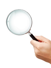 Man's hand, holding classic styled magnifying glass