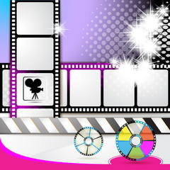 Illustration with film frames and stars over colored background
