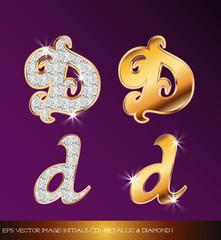 Fototapeta eps Vector image: initials (d)  metallic & diamond I obraz