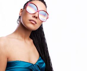 Beautiful fashion mulatto woman wearing sunglasses