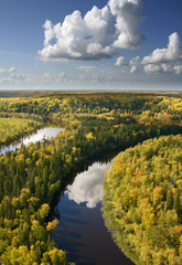 Aerial view river in autumn forest