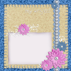 scrapbook layout in blue and beige colors with paper, pearls and