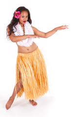 Hula dancer showing leg