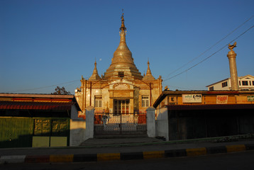 Golden pagoda in Myanmar temple 2.