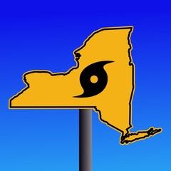 New York warning sign with hurricane symbol illustration