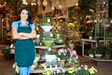 Woman working in florist