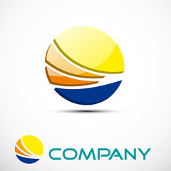Logo the sun on the waves of the sea # Vector
