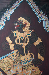 Mural of Ramayana art thai painting on wall in temple