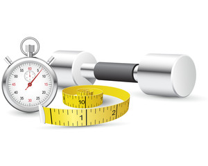 Stopwatch, measuring tape and dumbbells