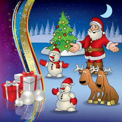 Christmas greeting with Santa deer snowmen and gifts