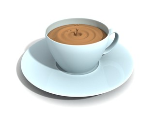 blue coffee cup on white surface