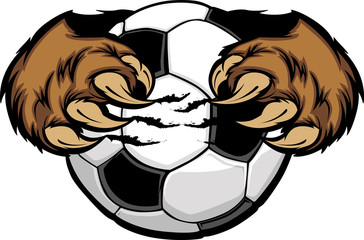 Soccer Ball With Bear Claws Vector Image