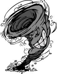 Storm Tornado Mascot  Vector Cartoon Image