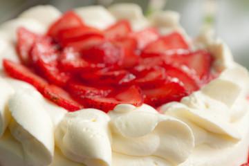 homemade strawberry cake with cream