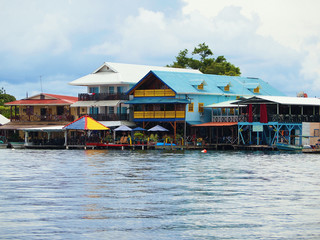 Caribbean hotels and restaurants over the water, Colon island, Central America, Bocas del Toro, Panama