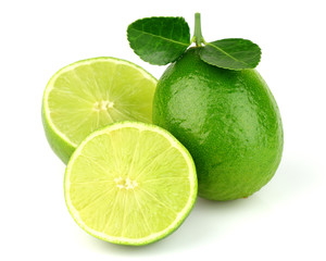 Ripe lime with leaves