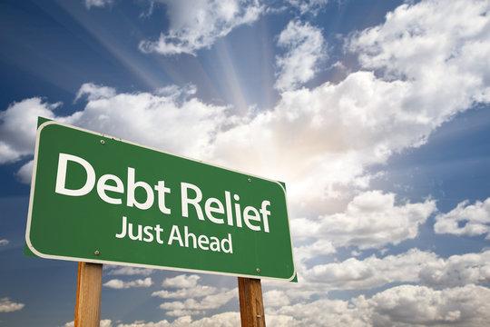 Debt Relief Green Road Sign