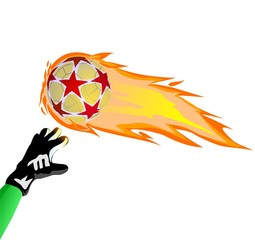 Fiery soccer ball and goalkeeper hand on the white background